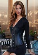 Essential Satin And Leather Corset Blk Xl