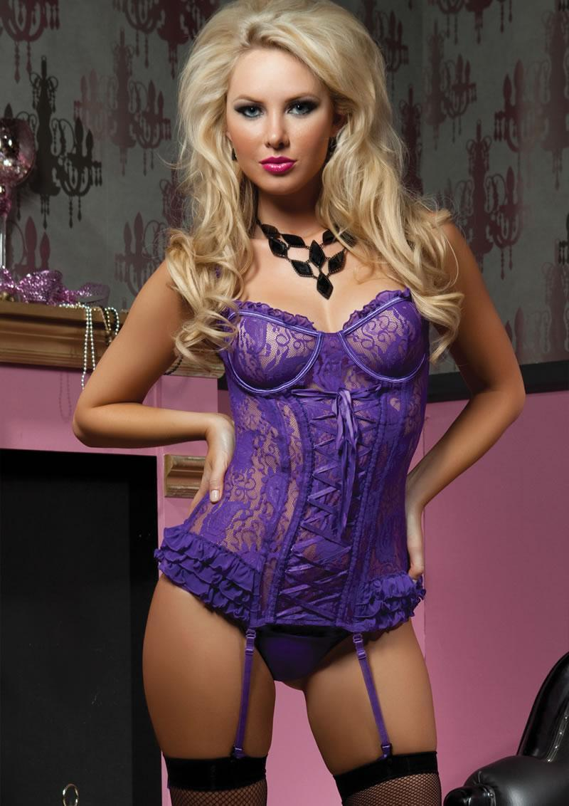 Paisley Pleasure 2pc Bustier-purple-lg