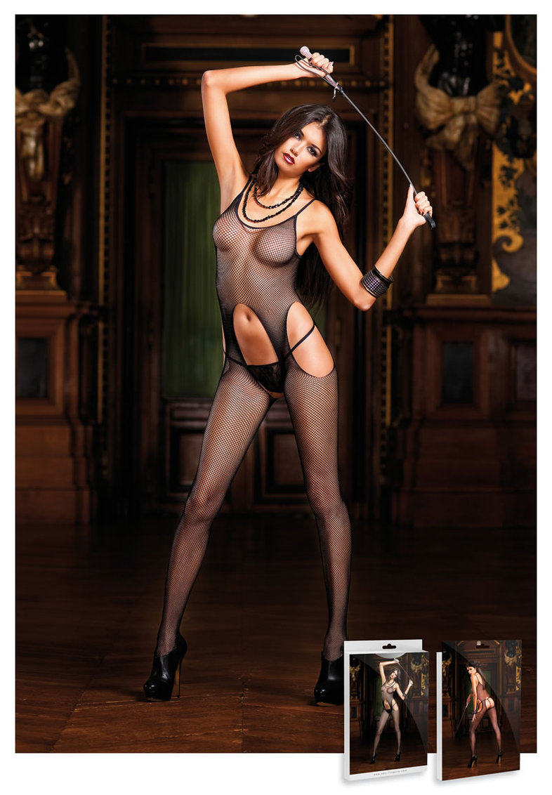 Suspender Hose Bodystocking Black (disc)