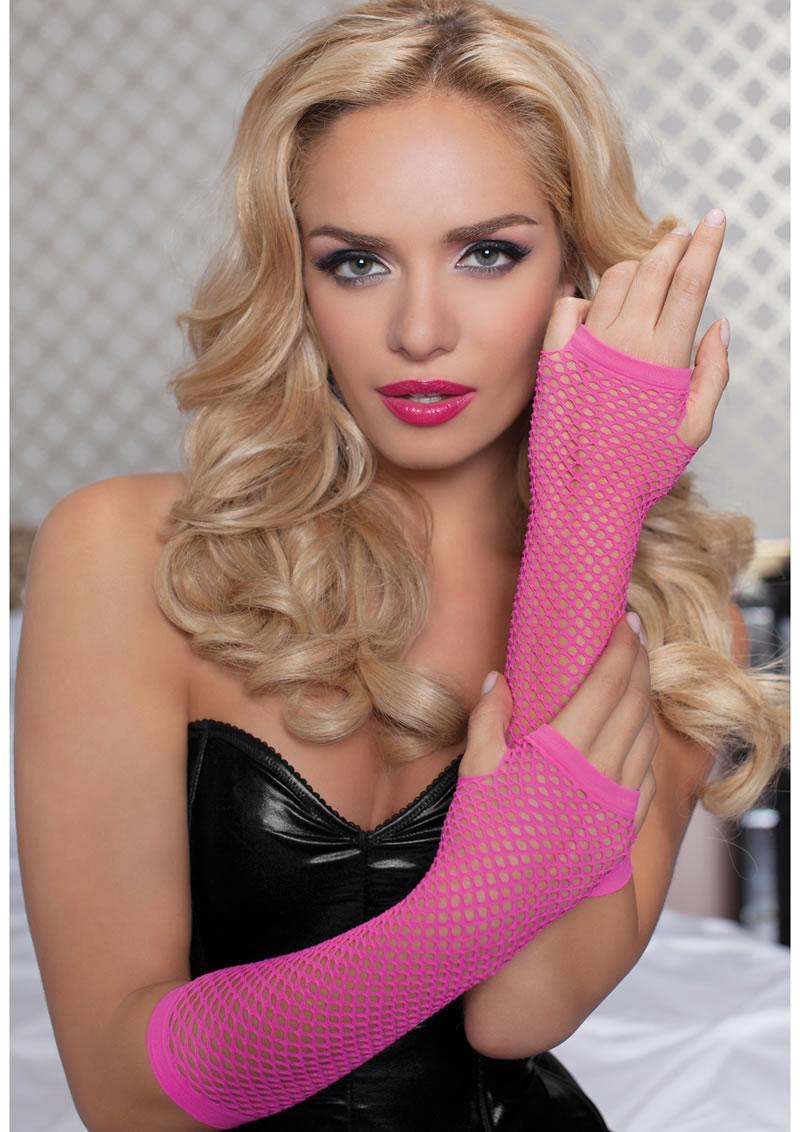 Elbow Fishnet Gloves - Pink - Os