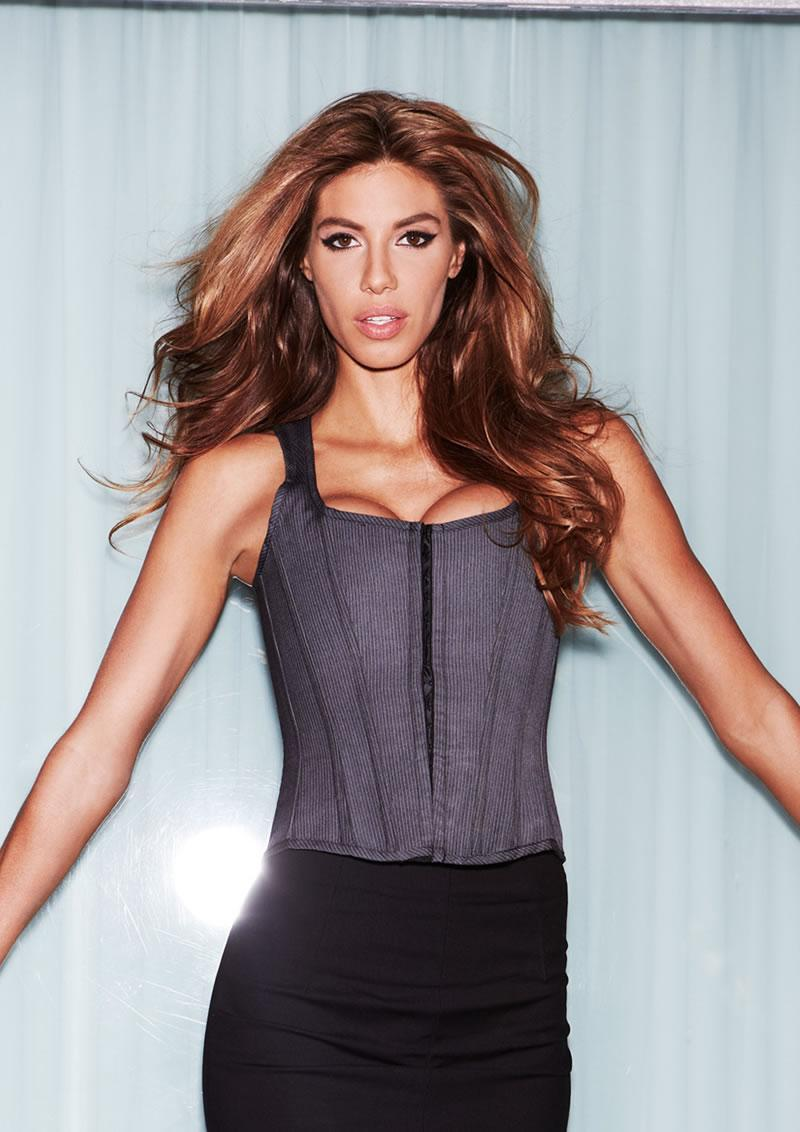 Suit Inspired Tank Corset Pinstripe L