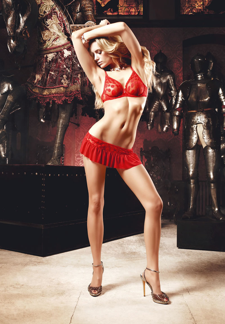 Red Dot Mesh Wire Bra/skirt Set (disc)