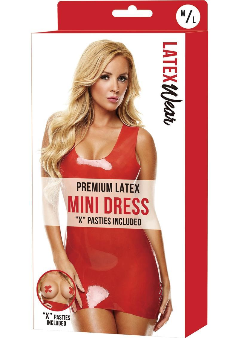 Premium Latex Mini Dress-red-m/l