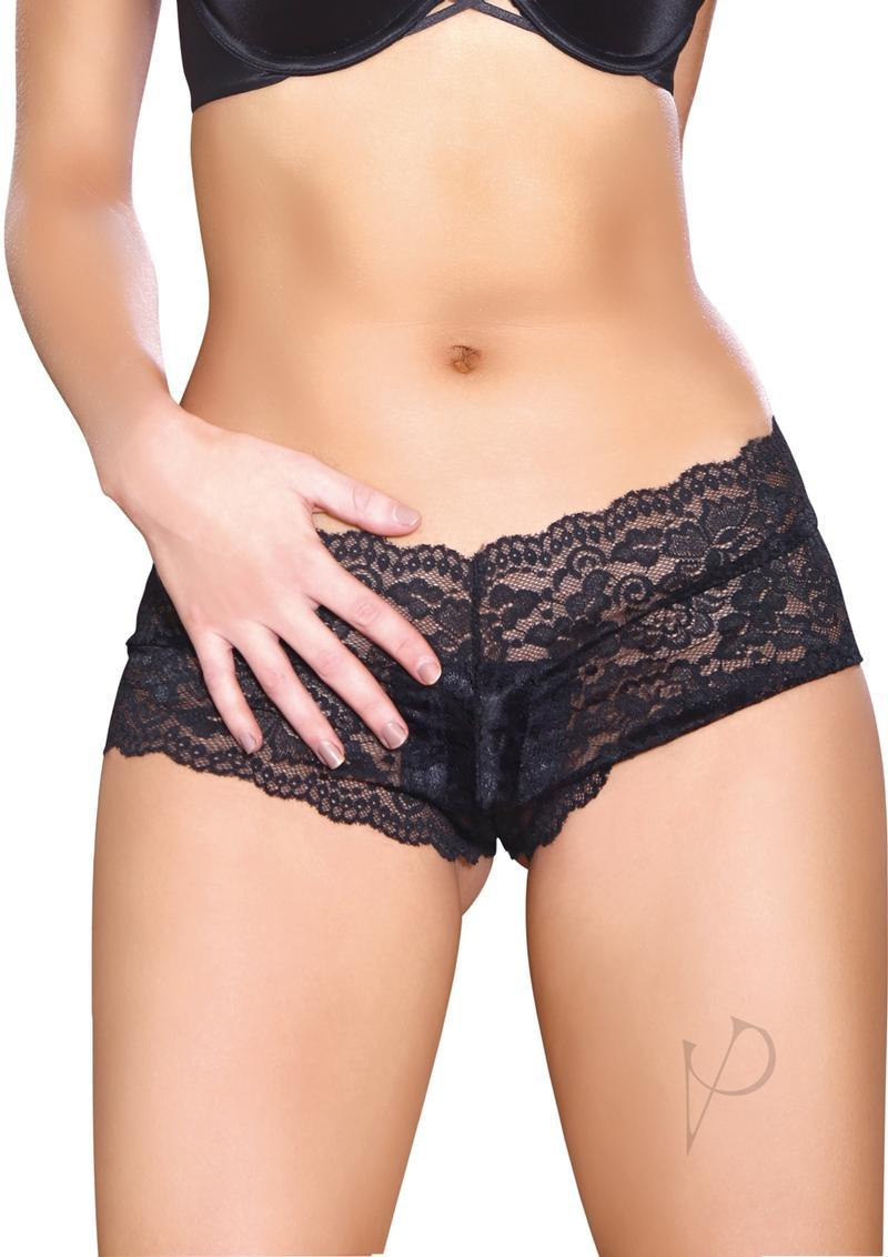Aande Vibrating Cheeky Crotchless Black